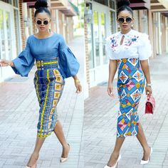 Classy picture collection of Beautiful Ankara Skirt And Blouse Styles These are the most beautiful ankara skirt and blouse trending at the moment. If you must rock anything ankara skirt and blouse styles and design. African Fashion Skirts, African Fashion Designers, African Print Dresses, African Print Fashion, Africa Fashion, African Dress, Skirt Fashion, African Prints, Nigerian Fashion