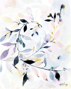 Abstract leaves that feel like they are fading out of existence, with soft hues complemented by dark hints of color make this a striking painting. You will thin