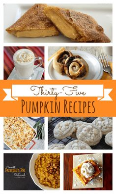 35 Pumpkin Recipes-Cookies, Cakes, Breads, Snacks and more found at www.chocolatechocolateandmore.com