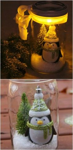 Illuminated Snow Scene - 12 Magnificent Mason Jar Christmas Decorations You Can Make Yourself diy & crafts Homemade Christmas, Diy Christmas Gifts, Christmas Projects, Holiday Crafts, Christmas Décor, Mason Jar Christmas Decorations, Christmas Mason Jars, Snowman Decorations, Mason Jar Art
