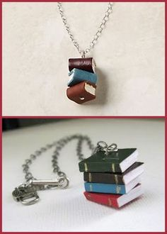 DIY Knockoff Anthropologie Library Stack Necklace (Original on top, but not available anymore). Knockoff pictured on the bottom. Made with dollhouse miniature books from the craft store.