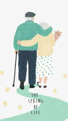Hand-drawn Wedding Invitations:讓你擁有獨一無二的婚禮邀請函 ‧ A Day Magazine Elderly Couples, Old Couples, Wedding Couples, Wedding Photos, Paar Illustration, Couple Illustration, Watercolor Illustration, Wedding Illustration, Watercolor Artists