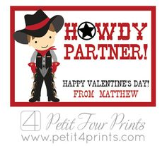 "Cowboy ""Howdy Partner"" Printable Valentines  by Petit4Prints"