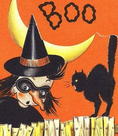 OLD VINTAGE 1948 DIECUT HALLOWEEN GREETING CARD WITH SCARY WITCH AND BLACK CAT | eBay