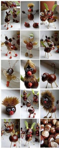 Chestnut Crafts Ideas - Nature Crafts Ideas - Fall Crafts to Make and Sell Kids Crafts, Diy Projects For Kids, Diy For Kids, Diy And Crafts, Craft Projects, Arts And Crafts, Craft Ideas, Decorating Ideas, Autumn Crafts