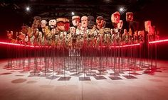 Werken by Bernardo Oyarzun at the Chile pavilion, which features over 1,000 Mapuche kollong masks, traditionally used in Chilean ceremonies. | Venice Bienniale