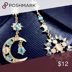 Pair of sun ☀️ and moon 🌙 earrings Really cute pair of earrings, you can wear both  or separated. Jewelry Earrings