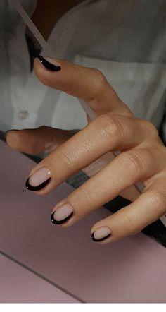 nails with black details \ details nails . nails with details . nails with red details . nails with black details . details on nails Minimalist Nails, Two Color Nails, Nail Colors, Cute Nails, Pretty Nails, Hair And Nails, My Nails, Red Tip Nails, Nails On Fleek
