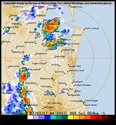 64 km Brisbane (Mt Stapylton) Radar Weather Watch, Point Lookout, Meteorology, Brisbane, Image
