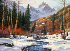 Winter's Blanket by Mark Keathley ~ Rocky Mountains stream snow elk herd