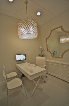 need 2 consult rooms, love the lighting, chairs and desk. the back storage option would be helpful for literature.