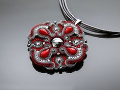 Dark red and graphite Soutache necklace with Haematite.