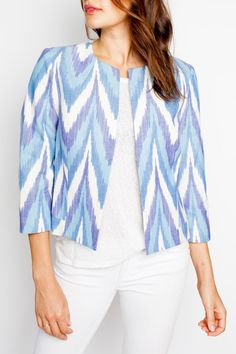 Meet the Ikat Topper. Our Ikat Toppers are a favorite season after season for their beautiful colors and prints -- every jacket has a slightly unique ikat pattern because they are hand-dyed and handwoven with the upmost attention to detail. The clean lines of the cut showcase the super luxe qualities of the fabric. For the lady who loves prints or color, the Ikat Topper is a must-have.    Kiss-front closure with hook and eye  Fully Lined  Expertly hand-dyed, handwoven 100% cotton Indian Ikat… Coats For Women, Jackets For Women, Clothes For Women, Kurta Designs, Blouse Designs, Indian Jackets, Kurta Cotton, Ikkat Dresses, Indian Designer Outfits
