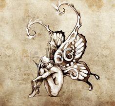 Croquis de l'art du tatouage, fée avec des ailes de papillon Banque d'images