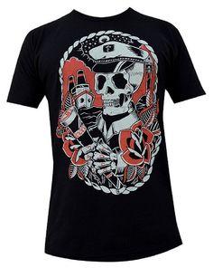 Mens Homeward by Adi Nautical Skeleton Captain Spyglass Tattoo Black T-Shirt