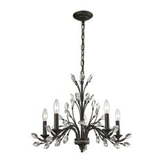 ELK Lighting 11775/5 Crystal Branches Collection Burnt Bronze Finish