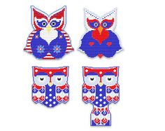 Plastic Canvas Happy Hootie 4th of July Wall by kathybarwick, $5.99