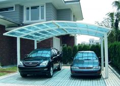 3 Design Polycarbonate Carport Canopy Plastic Roofing is the absolute band-aid for absolution accustomed ablaze into a structure. They comes in a advanced Carport Kits, Carport Garage, Carport Ideas, Driveway Ideas, Car Porch Design, Modern Carport, Double Carport, Car Shed, Backyards