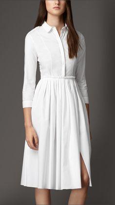 Skirted Stretch-Cotton Shirt Dress   Burberry