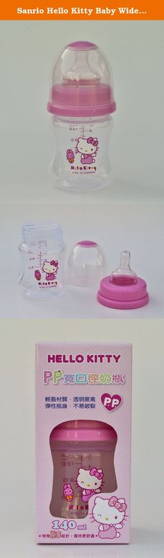 Sanrio Hello Kitty Baby Wideneck Pp Feeding Bottle 4.7 Oz. / 140ml BPA Free. BPA Free Bottle Wideneck baby bottle feauting cute Hello Kitty design. Authentic Sanrio Licensed Product. Made in Taiwan.