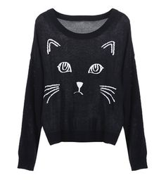 Black Embroidered Cat Sweater