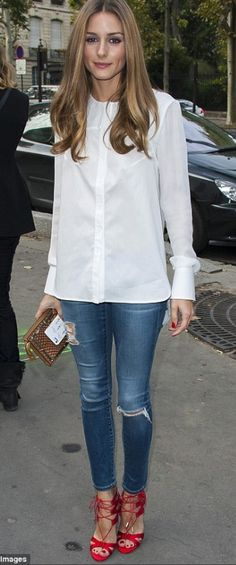 Olivia Palermo - white blouse and red heels