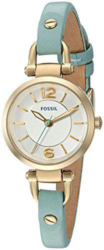 Fossil Women's ES3999 Georgia Mini Green Leather Watch Fo…