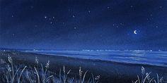 Illustration. Sea. Moon. Lights.