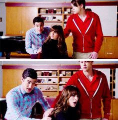 "Rachel, Sam and Blaine in Glee's ""Transitioning"" episode"