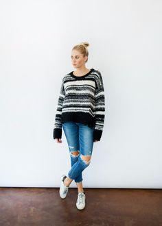 579c58c33cf9eb Raquel Allegra Stripe Lofty Pullover Sweater in Black - Tula Boutique Loose  Knit Sweaters
