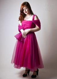 Original 1950s Pink Chiffon Prom Dress with Shawl from Upstaged Vintage