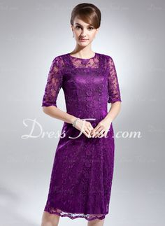 Sheath Scoop Neck Knee-Length Charmeuse Lace Mother of the Bride Dress (008006083---IN NAVY OR ROYAL BLUE