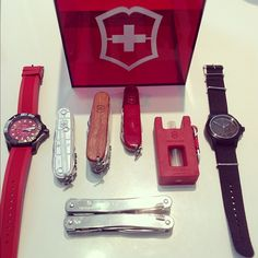 Swiss Army EDC gear.