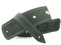 Black Leather Guitar Strap- Fleur de Lis Conchos & Silver Diamonds