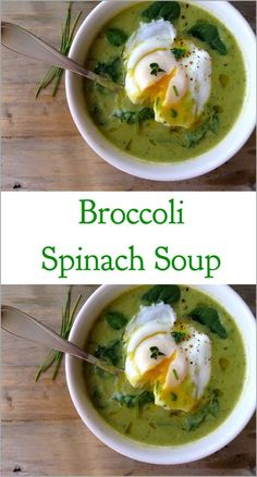 Healthy, creamy and paleo Broccoli Spinach Soup made with flavorful leeks and brought to perfection by a golden poached egg! For more flavor and less sodium, making chicken stock from scratch needn't be complicated. Sure, it takes a bit more time, but it' Vegetarian Recipes, Cooking Recipes, Healthy Recipes, Sopas Light, Sopas Low Carb, Clean Eating, Healthy Eating, Spinach Soup, Healthy Soup
