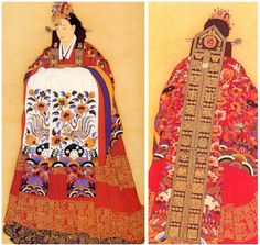 The wedding dress of the Joseon Dynasty period. Korean Traditional Dress, Traditional Fashion, Traditional Dresses, Traditional Art, Traditional Weddings, Korean Hanbok, Korean Dress, Korean Outfits, Korean Illustration