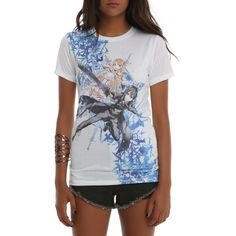 Hot Topic Sword Art Online Asuna & Kirito Sublimation Girls T-Shirt ($13) ❤ liked on Polyvore featuring tops, t-shirts, white, fitted tee, white t shirt, white top, pattern tees and print top