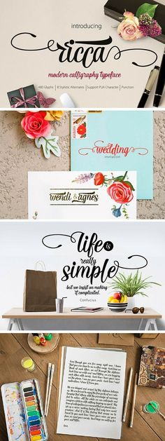 Ricca is a modern Lettering typeface, It suitable for wedding invitation, greeting cards, watercolor based design, or any design that you create Ricca font Calligraphy Fonts, Typography Letters, Modern Calligraphy, Typography Design, Brush Font, Brush Lettering, Cool Fonts, New Fonts, Nice Handwriting