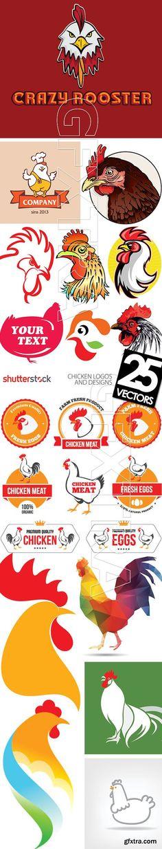 Chicken Logos & Designs 25xEPS Chicken Brands, Chicken Logo, Chicken Shop, Chicken Art, Food Logo Design, Logo Food, Logistics Logo, Food Truck, Chicken Images