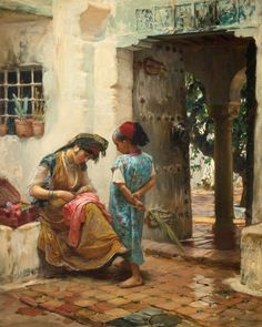 """The sewing lesson"" - Frederick Arthur Bridgman (american painter)"