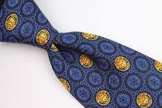 VERSACE Blue Black Gold Medusa Head Pattern mens Silk Tie #Versace #Tie