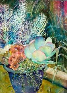 succulents, watercolor by David R. Daniels