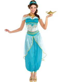 Disney Costumes Adult Jasmine Costume Couture Party City - Our Couture Jasmine Costume is the hottest look in Agrabah! Women's Couture Jasmine Costume features premium fabrics with faux gems and includes a gold genie lamp. Movie Halloween Costumes, Halloween Kostüm, Adult Costumes, Diy Costumes, Jasmine Halloween Costume, Costume Ideas, Genie Costume, Aladdin Costume, Aladdin Party