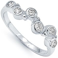 925 Sterling Silver Shiny Round Clear CZ Bubble Design Elegant Ring Size 3-11 #Unbranded #EngagementPromiseWeddingRing