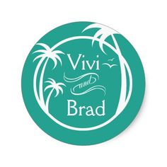 Beach Surf Palm Logo | aqua Classic Round Sticker