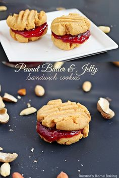 Peanut butter and jelly sandwich cookies. Classic peanut butter jelly just got a make-over.