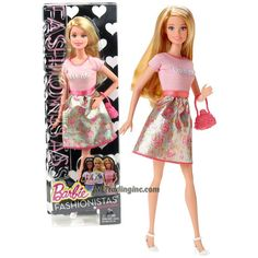Mattel Year 2014 Barbie Fashionistas Series 12 Inch Doll Set - BARBIE (CLN60) in Dream Floral Dress with Purse