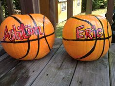 I painted these basketball pumpkins for two little sports fans:-)
