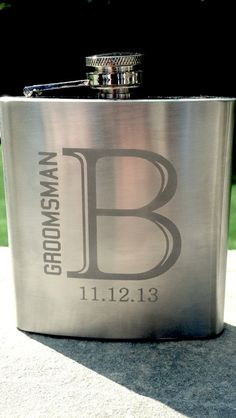 8 Etched Groomsman flask 6 ounce stainless by WaterfallDesigns