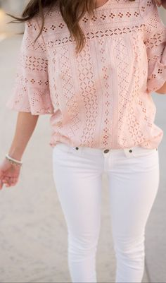 Spring Style // Pink lace blouse with white skinny jeans.